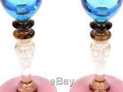 Pair Murano Nason Moretti Giulia Champagne Flutes Glasses Blue Glass Wine