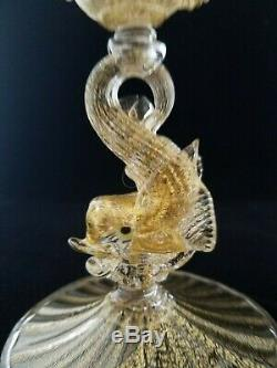 Pair Murano Venetian Glass Gold Dolphin Candlestick Holders, Salviati or Toso