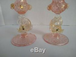 Pair Murano Venetian Glass Pink Gold Dolphin Candlestick Holders Salviati