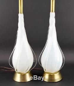 Pair Of Murano Opalescent Spiral Tear Drop Hand Blown Glass Table Lamps Vintage