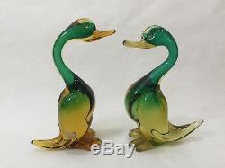 Pair Vintage Mid Century Italian Murano Art Glass Duck Sculpture Green & Amber