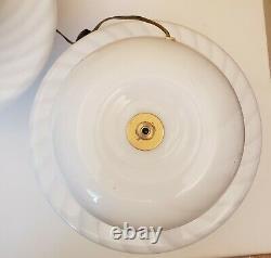 Pair Vintage Murano Art Glass Vetri Mashroom Lamps Swirl Pat. MID Century Modern