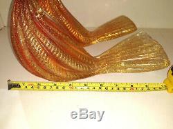 Pair Vintage Venetian Murano Red`Gold Flakes Glass Love Birds Heavy Stunning