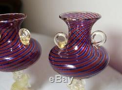 Pair hand blown Venetian Murano art glass dolphin goblet chalice stemware vase