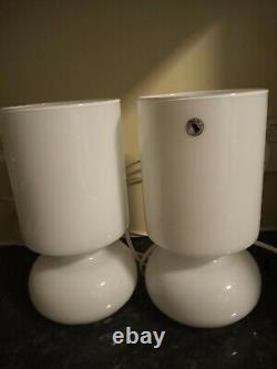 Pair of Ikea retro glass lamps, mushroom handblown, rare white, Murano style, Lykta