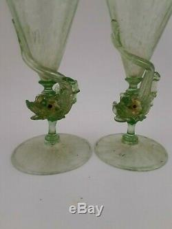 Pair of Murano Venetian Glass Salviati Olive Green Dolphin Cocktail Glasses