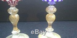 Pair of Venetian MURANO Art Glass Sherry Size, one red one blue gold aventurine