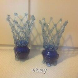Pair of blue Vintage Murano Art Glass, Large Vase, Lattice, Hand Blown, 26cm tall