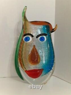Picasso Italian Murano Art Glass Vase, 12 Colorful Hand Blown Home Decor
