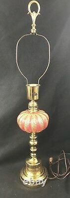 Pink Barovier & Toso Lamp Cordonato dOro Brass Hollywood Regency