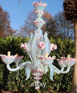 Pink Murano hand blown glass 6 arms Venetian Chandelier lamp mid century 1970