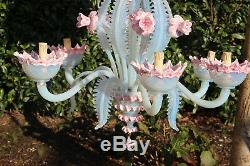 Pink Murano hand blown glass 6 arms Venetian Chandelier lamp mid century 1970
