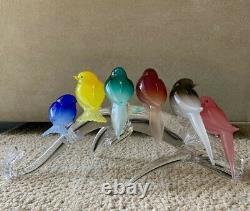 Pino Signoretto Murano 6 Birds Branch Multi Color Sculpture Figurine Signed