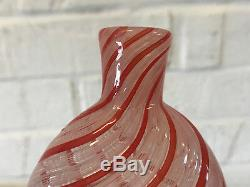 Possibly Vintage Italian Murano Glass Red & Pink Striped Flask Form Bottle Vase