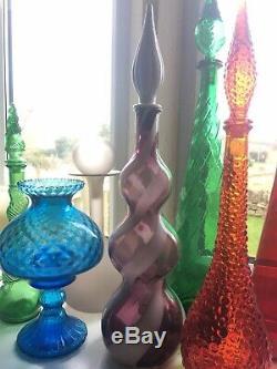 Purple ALROSE EMPOLI White Decanter Genie Bottle Triple Gourd Vintage 58cm