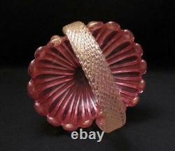 Quality Vintage Italian Murano Glass Pink Aventurine Basket Archimede Seguso