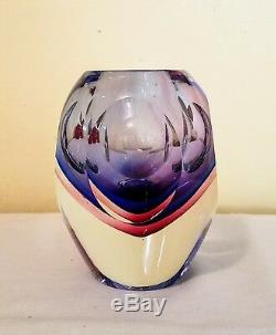 RARE! Mid Century Modern MURANO Sommerso Cased Glass Vase MINT CONDITION
