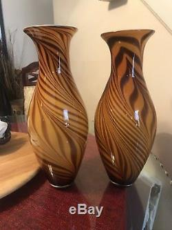RARE PAIR Murano Hand Blown Glass Large Tiger Stripe Vases w Stickers MINT