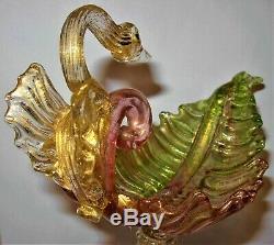 RARE Salviati Venetian Hand Blown Art Glass Figural Swan & Dolphin Shell Compote