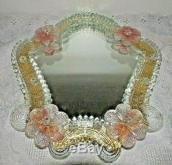 RARE Vintage Italian Venetian Murano Glass Vanity Table Wall Mirror 12 x 11.5