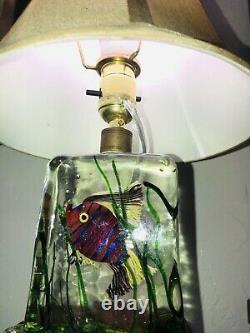 RARE & WONDERFUL MURANO LAMP CENEDESE 1940s FISH AQUARIUM STUNNING ITALIAN ART