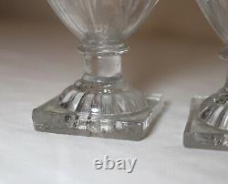RARE pair of antique 18th century hand blown Italian Murano glass mini urn vases