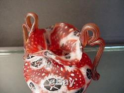 Rare 1940's Vintage Fratelli Toso Flower Miniature Red Millefiori Vase Murano