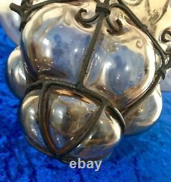 Rare Antique Italian Hand Blown Seguso Murano Glass Light Pendant Wrought Iron