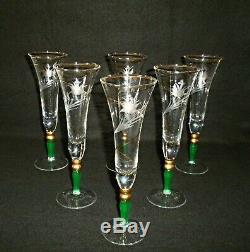 Rare Antique Murano Glass Paolo Venini (1895-1959) 6 x Champagne Flute with Gold