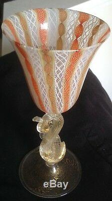 Rare Antique Venetian Swan Wine Glass Murano Salviati Late 19th Century c. 1890