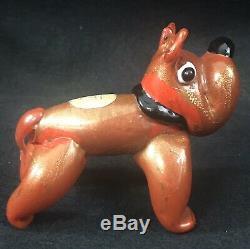 Rare Ferro Toso & Ercole Barovier Glass Bulldog Red Gold Foil Label Murano 1930s