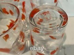 Rare Hand Blown Crate & Barrel Goldfish Koi Murano Style Glass Tumbler 4 Set