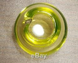 Rare MCM Murano Sommerso Vaseline Ashtray Bowl By Barbini -Excellent Condition