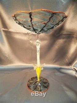 Rare Masterpiece Salviati Venetian Murano Lattice Chuck Savoie Art Glass Compote