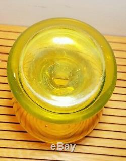 Rare Mid Century Luciano Gaspari Murano Vaseline Glass Vase-Excellent Condition