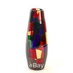 Rare Murano Fulvio Bianconi Venini Pezzato Patchwork Art Glass Vase 28cm