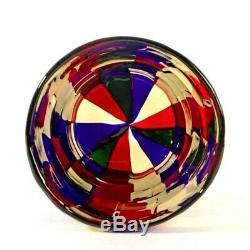 Rare Murano Fulvio Bianconi Venini Pezzato Patchwork Cylinder Art Glass Vase