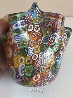 Rare Murano Millefiori Campanella Handkerchief Vase Bowl Italy Hand Blown