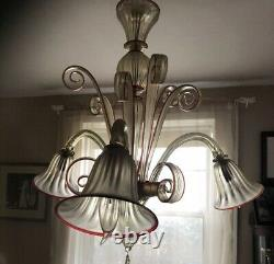 Rare Red and Gold Flex Murano Venetian hand blown glass chandelier 1980 3 arm