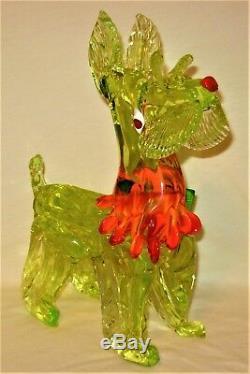 Rare & Stunning Large Murano Italy Vaseline Art Glass Scottie Dog Figurine