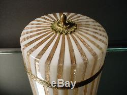 Rare Vintage Fratelli Toso Mezza Filigrana Covered Hinged Box Murano Eames Era