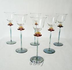 Rare Vintage Murano Venetian Salviati 6 x Huge Wine Goblet with Tourmaline Stems