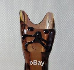 Rare Vintage Murano, Venice Brown Art Glass Cat Figural Vase Fortunoff