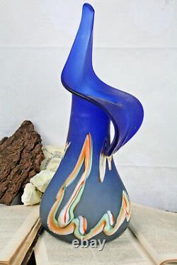 Rare XL ART Murano hand blown GLASS moderniste Multi coloured Vase 1970's