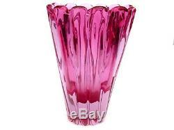Rare XL Murano Archimede Seguso Art Glass Alexandrite Neodymium Lobed Vase 2.2kg