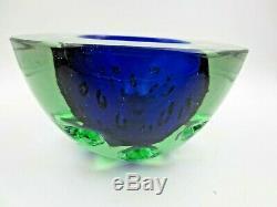 Rare blue green Galliano Ferro Italian Murano sommerso dimpled geode glass Bowl