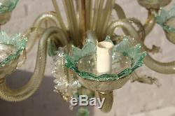 Rare murano green amber colour 6 arms hand blown glass chandelier 1970 Italy