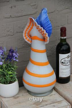 Retro Hand blown Art Glass Murano Vase 1970 Swirl rare shape