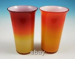 Retro Italian Cased Glass Peach Blow Water Set Pitcher with Lid 6 Tumblers Murano