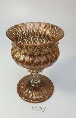 SALVIATI BAROVIER TOSO 24k GOLD LATTICINO VENETIAN GOBLET ZANFIRICO GLASS TAZZA